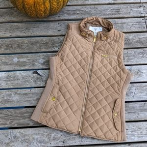 Guess Quilted Vest with Ribbed Elastic Sides. Size Medium. Camel Color